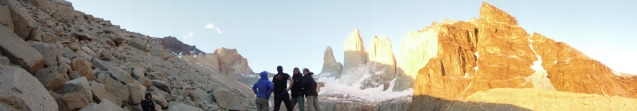 the Fantastic 4 at sunrise on the Torres del Paine (photo credit : Anthony Reccia)