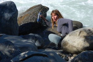 drinking ice water from the glacier at Italiano campsite