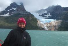 getting wet in front of Balmaceda Glacier