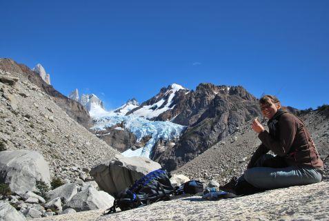 snack at Piedras Blancas Glaciar
