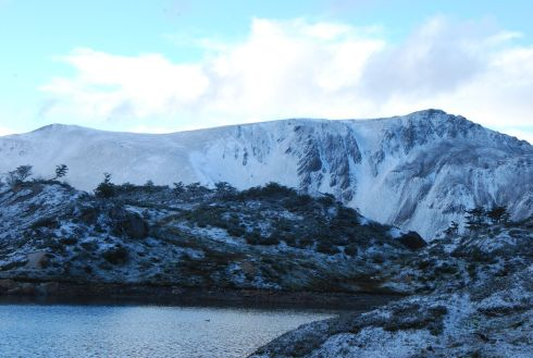 snow on Laguna del Salto