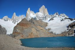 left to right : Saint-Exupéry Needle, Poincenot Needle and Fitz Roy Mountain, at Laguna de los Tres