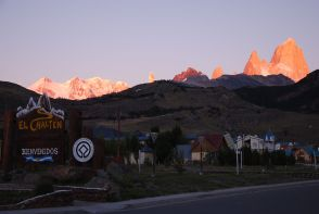 sunrise on Cerro Torre (the middle almost unseen pink needle) and Fitz Roy, from El Chaltén (17feb12)