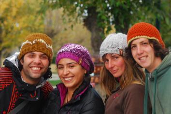 Koko, Dayana, J. & Matias : modeling for Veronica's lovely hand-knitted hats (photo credit : Veronica Ferrari)