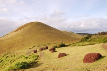 Puna Pau, crater where Moais' hats, pukao, were made of red schorie