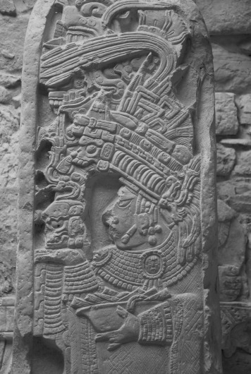 Stela 35 inside Structure 21, dating to the Late Classic. It depicts Lady Eveningstar, the mother of Bird Jaguar IV