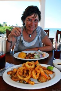 seafood in Chelem, Mexico