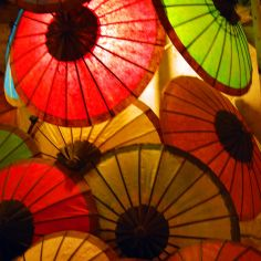 red umbrellas, Laos
