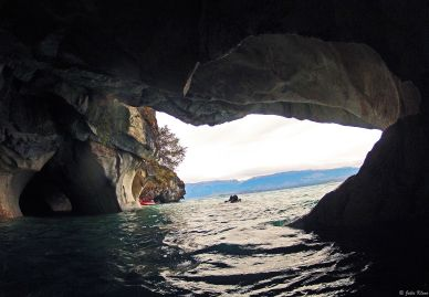 inside the Marble Cathedrals, Puerto Tranquilo, Chile