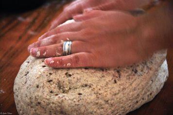 making bread at Hospedaje Magallanes, Punta Arenas, Chile