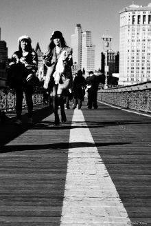 on Brooklyn Bridge, NYC, USA