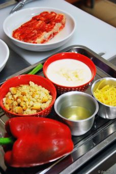 King Crab casserolle ingredients during cooking class, Puerto Natales, Chile