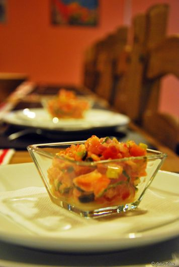 smoked salmon ceviche during cooking class, Puerto Natales, Chile