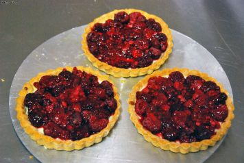 Raspberry pie during cooking class, Puerto Natales, Chile