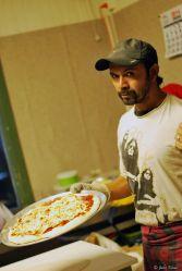 making pizzas at Base Camp, Puerto Natales, Chile