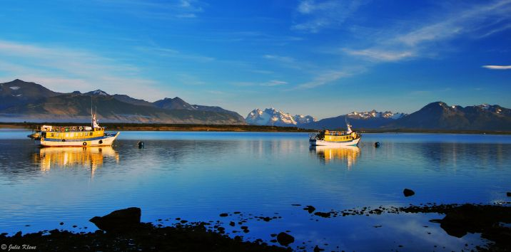 sunrise in the fjords, Puerto Natales, Chile