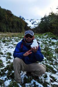 disovering snow at Glacier Martial, Ushuaia, Argentina
