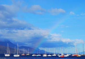 rainbow in the bay of Ushuaia, Argentina