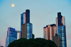 moonrise on the Paseo de las Historietas, Buenos Aires, Argentina