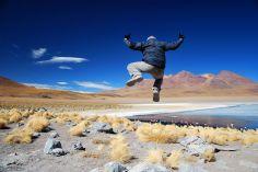 jumping at Laguna Canapa, Uyuni Salt Flats, Bolivia