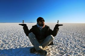 playing in Uyuni Salt Flats, Bolivia