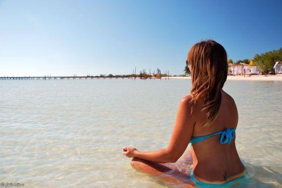 meditating in Holbox island, Mexico