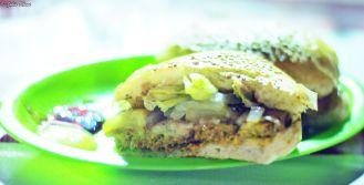 Hamburger at El Chorripan, Holbox island, Mexico