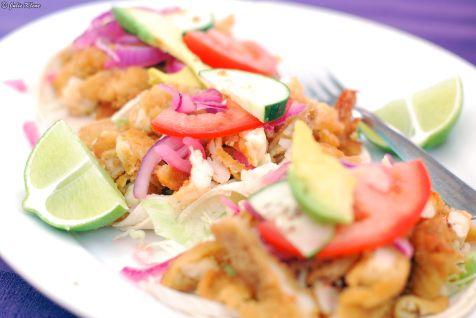 Shrimp tacos at Las Panchas, Holbox island, Mexico