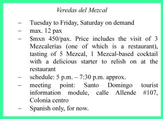 Info EN Veredas del Mezcal, Oaxaca, Mexique