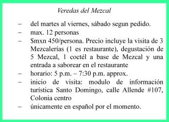 Info ES Veredas del Mezcal, Oaxaca, Mexique